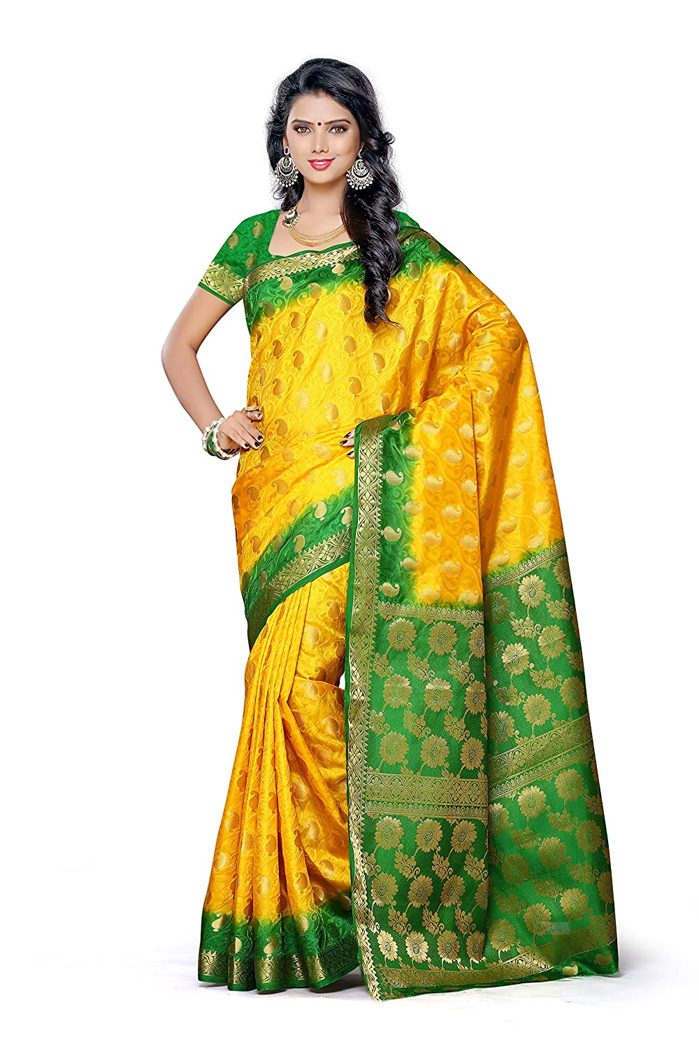 What To Wear This Wedding Season!! Upto 70% off On Wedding Season Fashion By Amazon | Mimosa Women's Traditional Art Silk Saree Kanjivaram Style With Blouse Color:Gold(3305-103-2D-GLD ) @ Rs.1,499