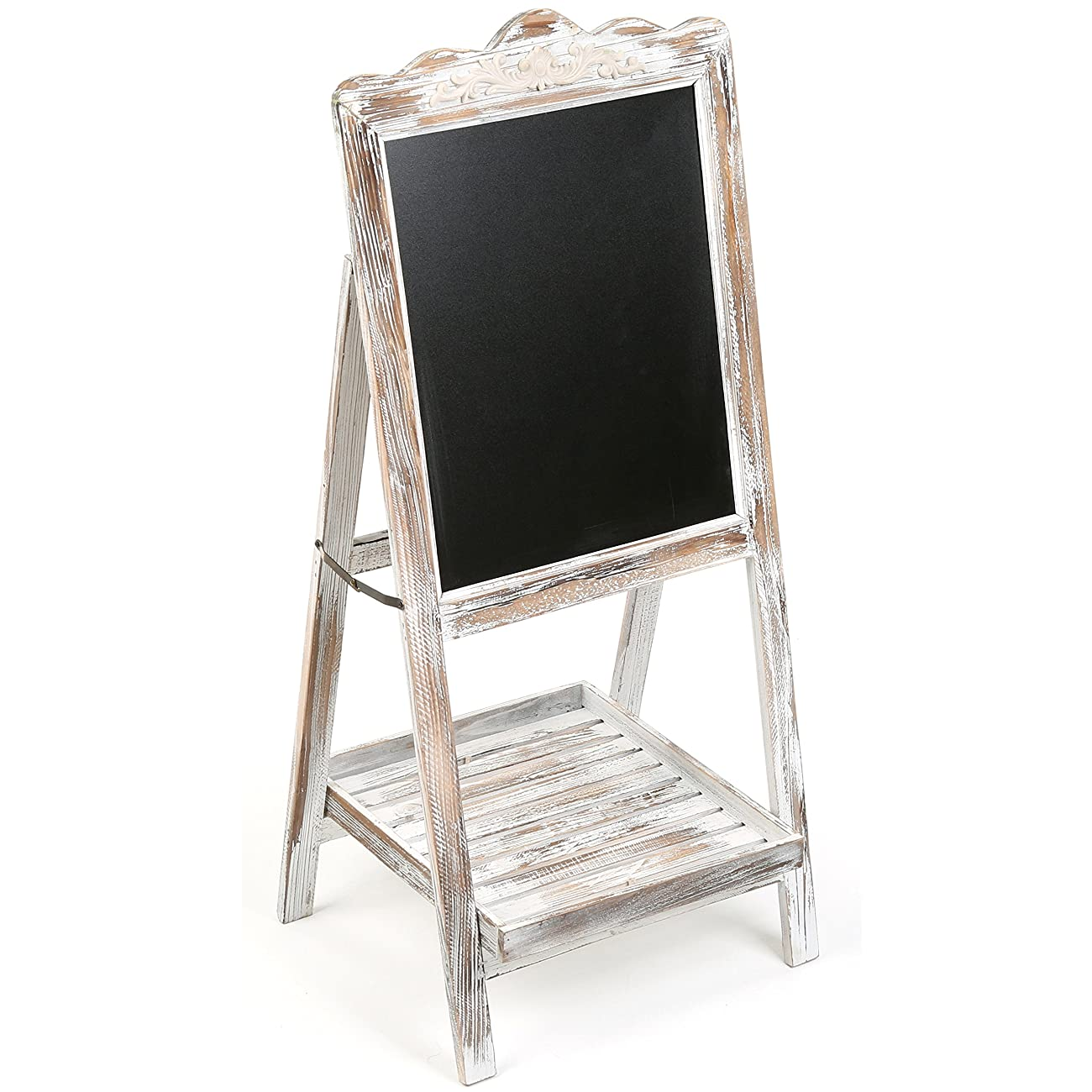 MyGift Vintage Style White Washed Brown Wood Chalk Board Easel / Freestanding Guest Message Sign Board 0
