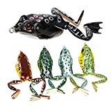 RUNCL Topwater Frog Lures with Legs, Soft Fishing Lure Kit with Tackle Box for Bass Pike Snakehead Dogfish Musky (Pack of 5) (Color: 5 frog lures with legs)