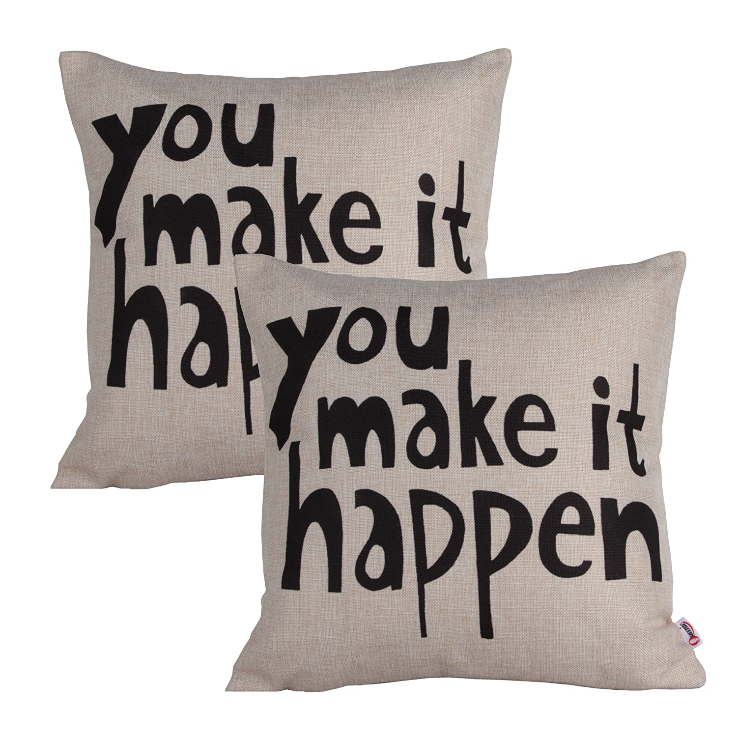 Inspirational Words Quotable Quotes Cotton Linen Decorative throw pillow