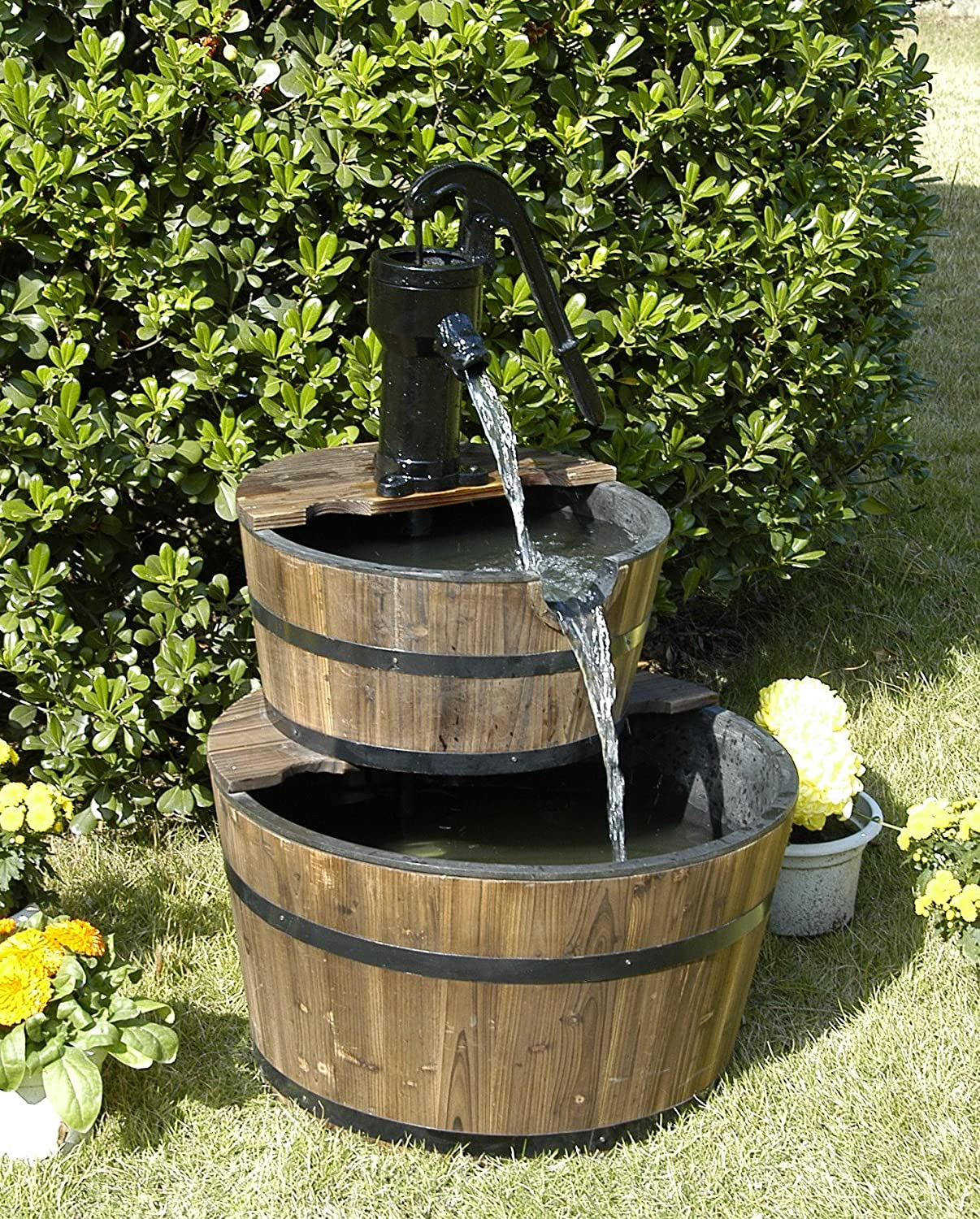 Rustic three tier apple barrel outdoor water fountain for Backyard fountains