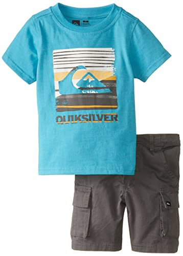 Quiksilver Little Boys' Light Blue Tee with Cargo Shorts