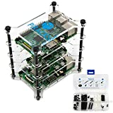 PiRacks Raspberry Pi (3, 2, 1 A+, 1 B+, Zero) Clear Acrylic 4-Stacker Rack Enclosure Box Storage System Case
