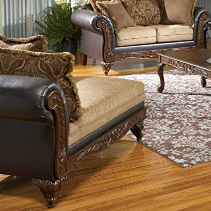 Roundhill Furniture San Antonio Traditional 2-Tone Chocolate Chaise