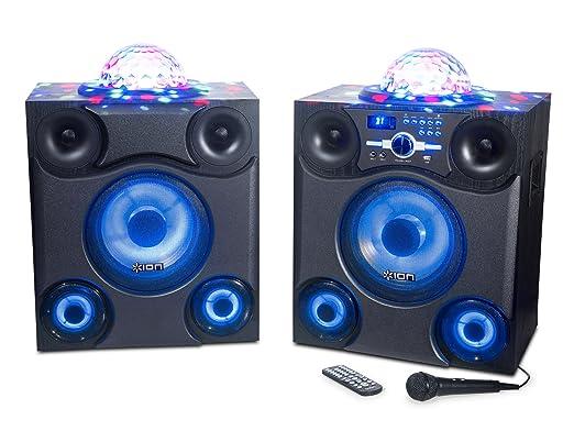 ION Audio Mega Party Express | Paire d'Enceintes Bluetooth 600W avec Eclairage LED Disco, Ports USB Radio FM, Microphone et Télécommande