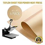 PowerPress 6 Pack Teflon Sheet for Heat Press Transfer Sheet Non Stick 16'' x 24