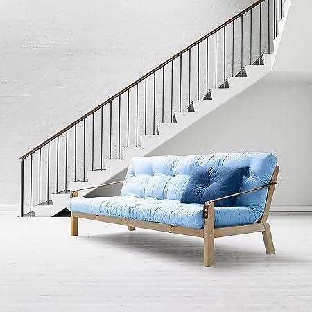 Karup–Poesie, Sofa Bett: Futon, natur Holz Rahmen Light Blue / Pino Naturale