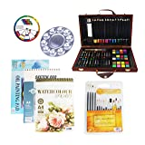S & E TEACHER'S EDITION 100 Pcs Deluxe Art Supplies Set in Wooden Case, Come with Additional Brush & Paper Pad. (Color: Wood Case 100Pcs)
