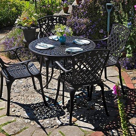 Mia Conjunto comedor de 4 puestos: mesa redonda diametro de 90 cm en aluminio con 4 sillas Rose color bronce antiguo