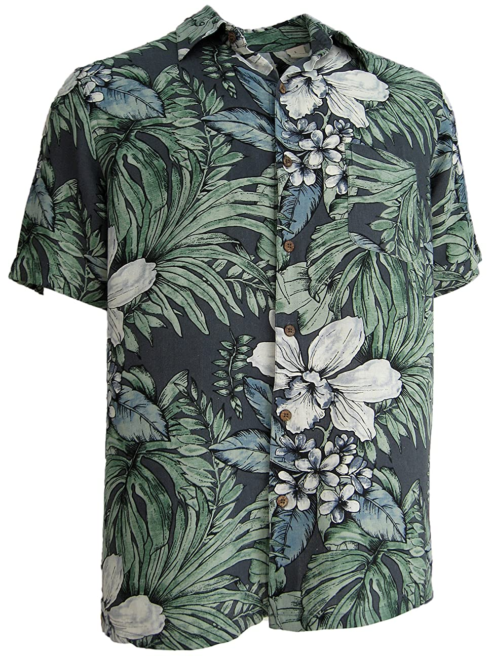 Mens Silk Camp Shirt Grey Hawaiian Cool Casual Floral Aloha 0