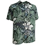 Mens Silk Camp Shirt Grey Hawaiian Cool Casual Floral Aloha
