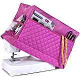 Sewing Machine Cover with 3 Convenient Pockets - Protective Quilted Dust Cover Pro - Universal for Most Standard Singer & Brother Machines | Rodi's (Pink) (Color: Pink, Tamaño: 8 x 17,5 x 12 inches (W x L x H))