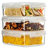 Komax Hikips 3-Pack Bento Lunch Box | 27.5-oz Leakproof Lunch Containers | Meal Prep Containers | Microwavable Food Containers | Freezer & Dishwasher Safe | BPA-Free, Clear Tritan (Color: Clear)