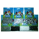 Perler Bead Bag, 7 Pack Group (Black, White, Grey, D. Grey, L. Grey, Striped Newsprint, Striped Black & White Striped (Color: Black, White, Grey, D. Grey, Striped Newsprint, St. Bl & Wh, St. Wh. Silver, Tamaño: 5mm)