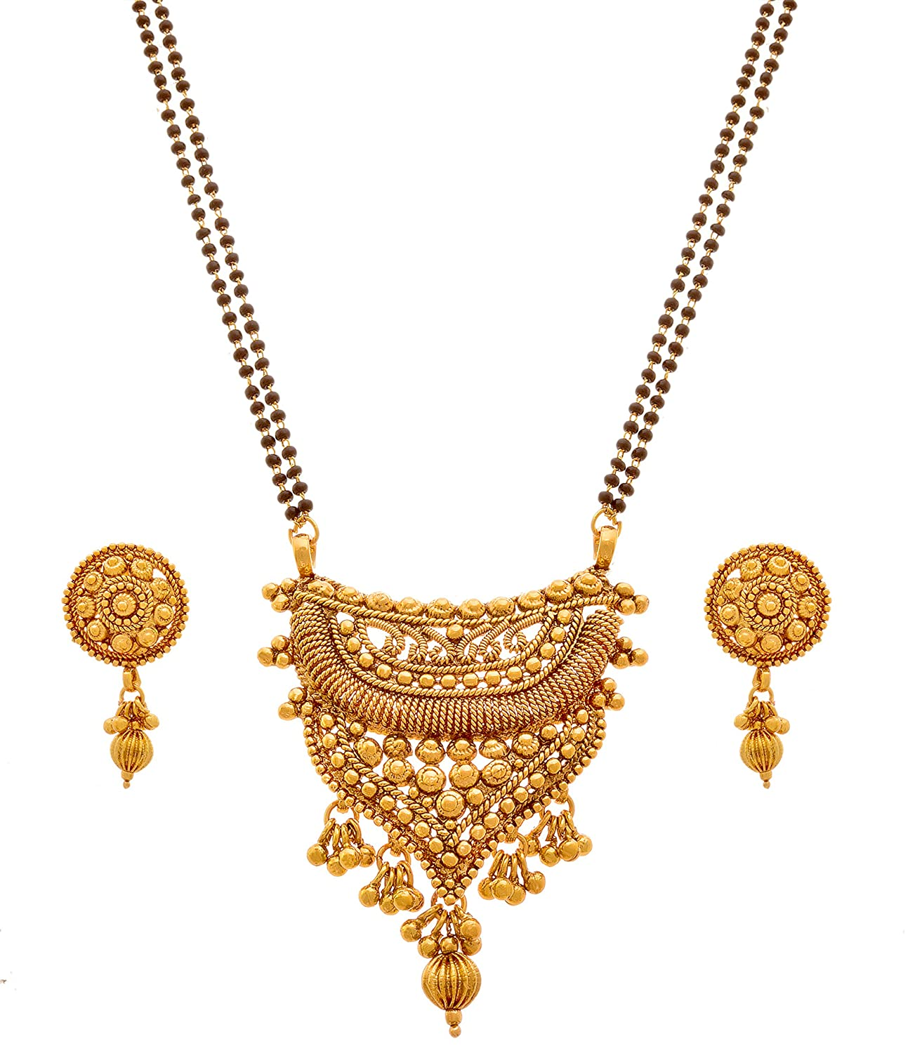 Gold Plated Mangalsutra With Earring And Black Bead Chain