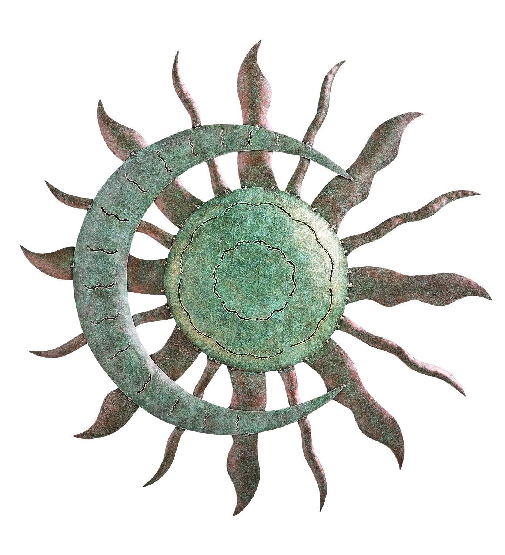 Celestial sunburst metal wall art sun moon and stars for Metal decor for outside