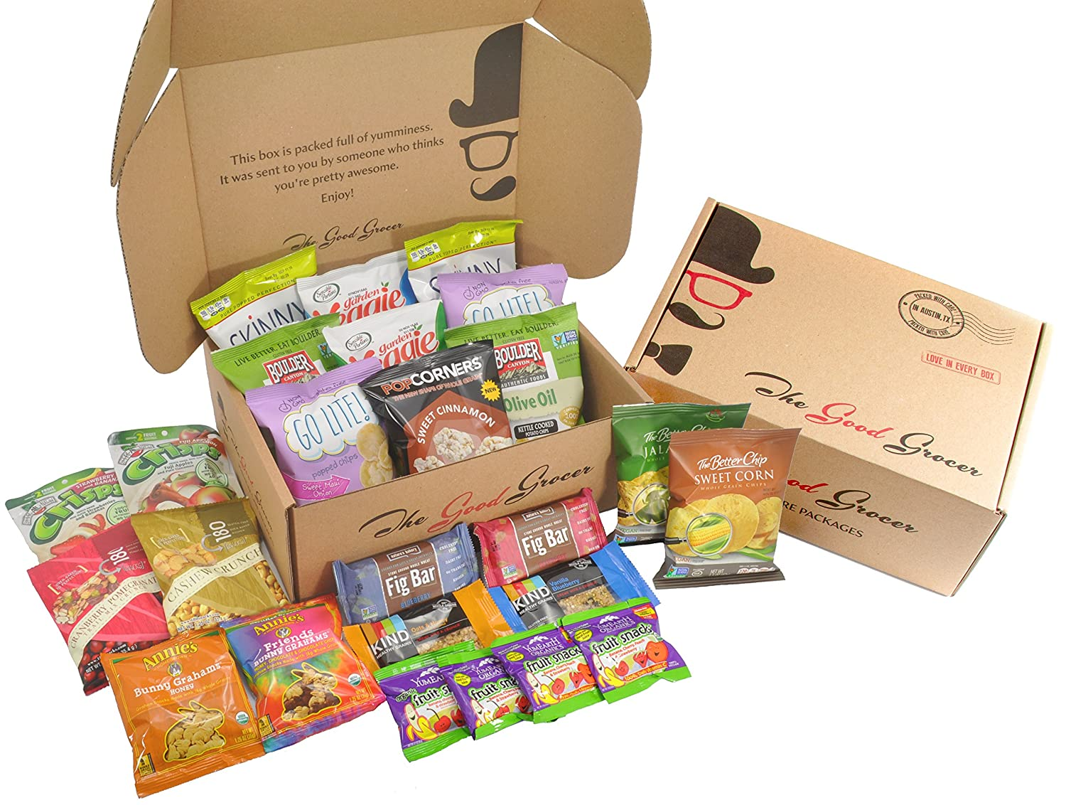 Non-GMO and Natural Healthy Snacks Care Package by The Good Grocer (25 Count) for College, Military, School Lunches, Gift Box, Variety Pack Assortment