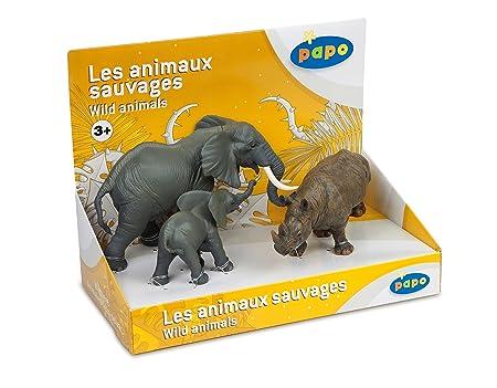 Papo - 80002 - Figurine - Animaux - Animaux Sauvages 3 - Boîte Présentoir - Eléphant / Eléphanteau / Rhinocéros Noir