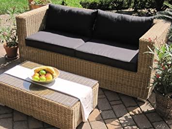 Lounge Wohnlandschaft Sofa 2 Sessel Tisch 2 Hocker Rattan Polyrattan Geflecht  Gartenmöbel Natur Beige Braun Provence   Fyeiusi