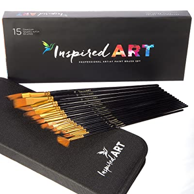 Inspired Art 15-Piece No-Shed Bristles Paint Brush Set with Pop-up Stand, Carry Case and Box via Amazon
