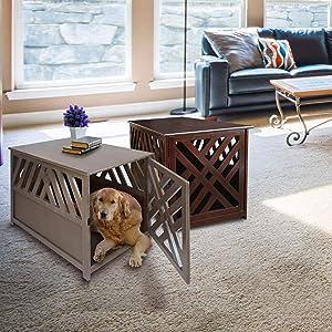Casual Home Modern Lattice Wooden Pet Crate End Table - Espresso (Color: Espresso, Tamaño: 23.5W x 36.5D x 29H)