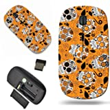 Luxlady Wireless Mouse Travel 2.4G Wireless Mice with USB Receiver, 1000 DPI for notebook, pc, laptop, macdesign IMAGE ID: 36626647 Day of the Dead Sugar Skull Seamless Vector Background (Color: 3332)