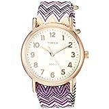 RELOJ TIMEX PARA MUJERES - TW2R59000 Weekender 38 Chevron púrpura Tela Resbalón - A través del reloj de la correa