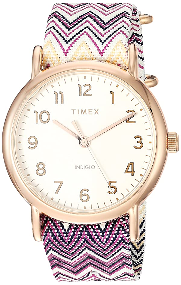 Reloj Tw2r59000 Timex Mujeres Para Chevron Weekender 38 Púrpura n0wm8N