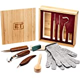 Elemental Tools 9pc Wood Carving Set - Hook Carving Knife, Whittling Knife, And Detail Wood Knife For Spoon, Bowl, Kuksa Cup Or General Woodwork - Bonus Cut Resistant Gloves And Bamboo Gift Box (Color: Brown, Tamaño: Standard)