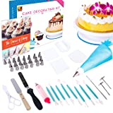 Cake Decorating Kit by Wellmax | Complete Set of Baking Supplies Incl. Pastry Bag and Cake Turntable + Decorations for All Occasions | 24pc Russian Piping Tips + Large Selection of Silicone Tools