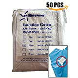 Dental Medical Latex Free Disposable Isolation Gowns Knit Cuff Non Woven | Fluid Resistant (50 Gowns / 5 Packs, White) (Color: White, Tamaño: 50 Gowns / 5 Packs)