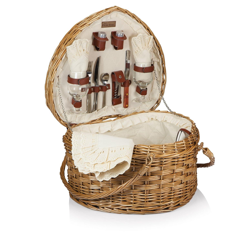 Picknick Zeit 329–35–190Herz Korb–Weide mit creme Futter jetzt kaufen