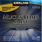Kirkland Signature Mucus Relief Chest Expectorant (Guaifenesin 400 Mg), 2 bottles of 200-Count Immediate-Release Tablets (Tamaño: 400 Pills)