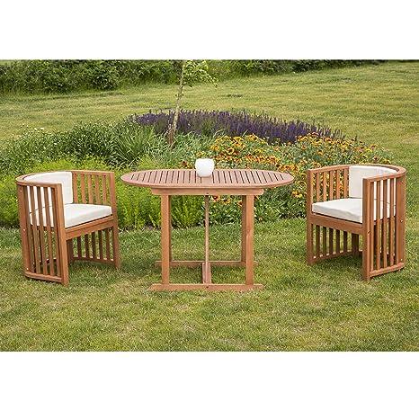 Balkonset BRASILIA 7 tlg, 2x Sessel, 1x Tisch 70x120cm, inkl. Auflagen, FSC®-zertifiziert
