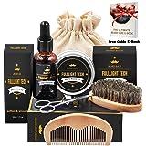 Beard Grooming & Trimming Kit for Men Beard Growth Gift Set w/ Unscented Balm,Beard Softening Oil Conditioner,Beard Bristle Brush + Comb + Mustache Scissors for Styling & Beard Trimmer Kit (Color: Kit 2)
