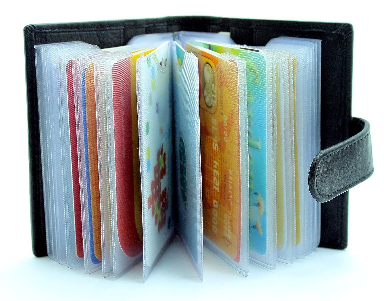 starhide soft genuine leather credit card holder wallet with removable plastic sleeves 210 - Card Holder