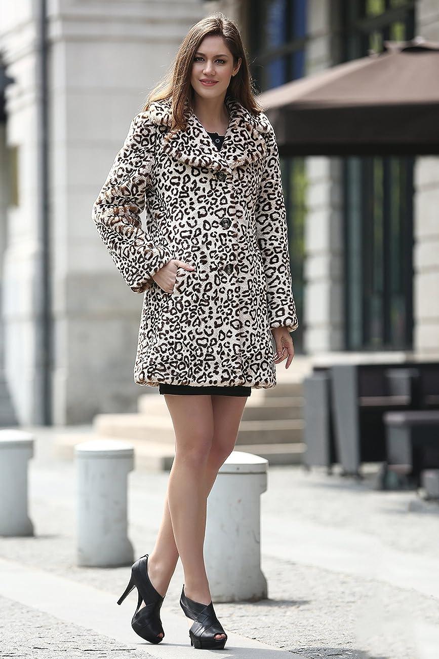 Adelaqueen Women's Elegant Vintage Leopard Print Lapel Faux Fur Coat Mid-Length 2