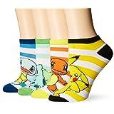 BIOWORLD Pokémon Pikachu/Squirtle/Charmander/Bulbasaur Ankle Socks (4 Pack) (Color: Multi, Tamaño: 9-11)