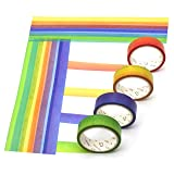 Washi Masking Tape Set Decorative Craft Tape Collection for DIY and Gift Wrapping with Colorful Designs and Patterns (Rainbow, 4 Pcs) (Color: Rainbow, Tamaño: 4 Pcs)