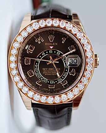 ROLEX SKY-DWELLER ROSE GOLD BROWN LEATHER WATCH WITH DIAMONDS 326135 BOX/PAPERS UNWORN 2014