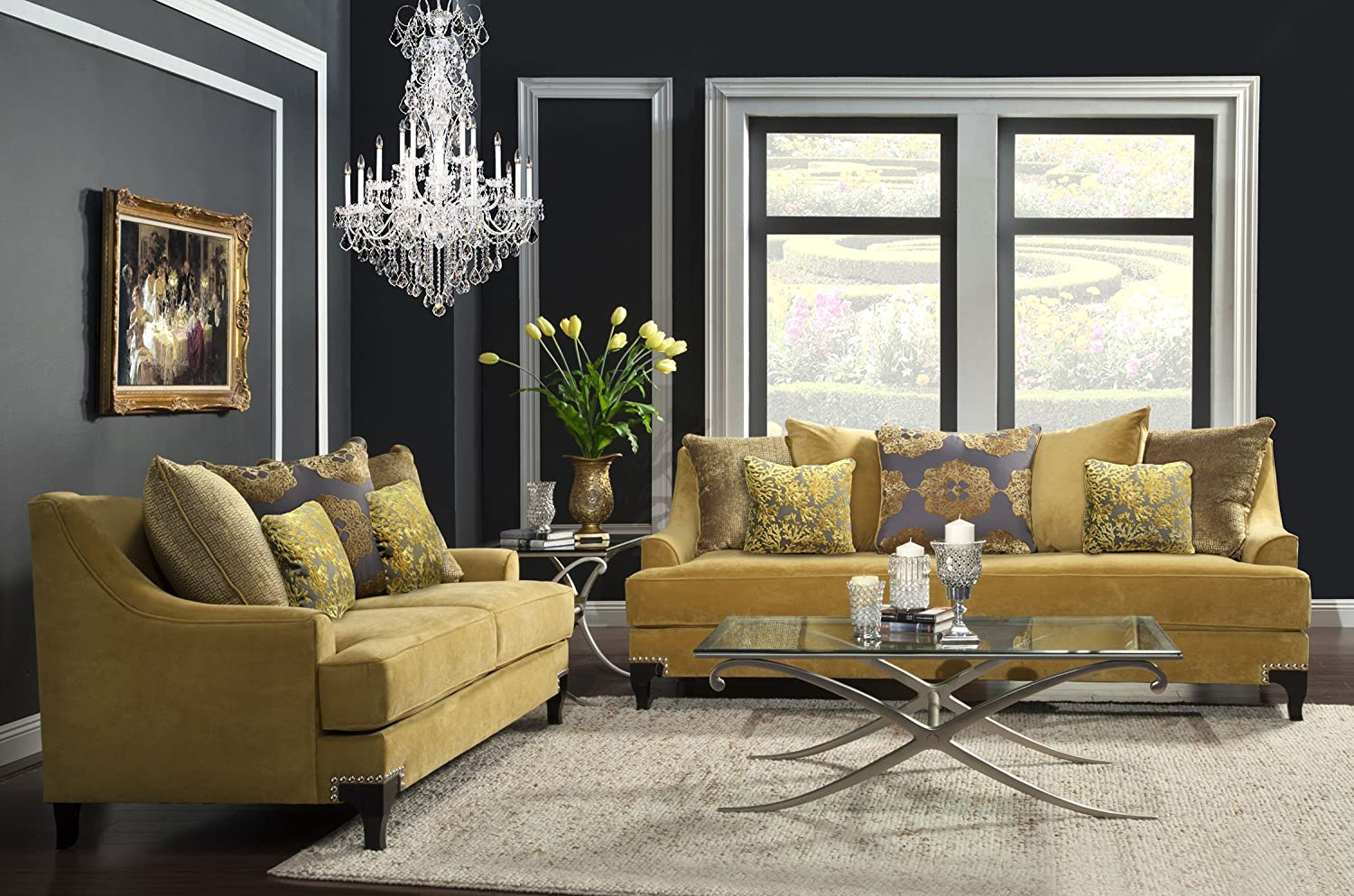 Furniture of America 2-Piece Argenie Fabric Upholstered Sofa Set - Gold