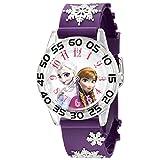 Disney Kids' W002437 Frozen Elsa & Anna Time Teacher Analog Display Analog Quartz Purple Watch (Color: Frozen)