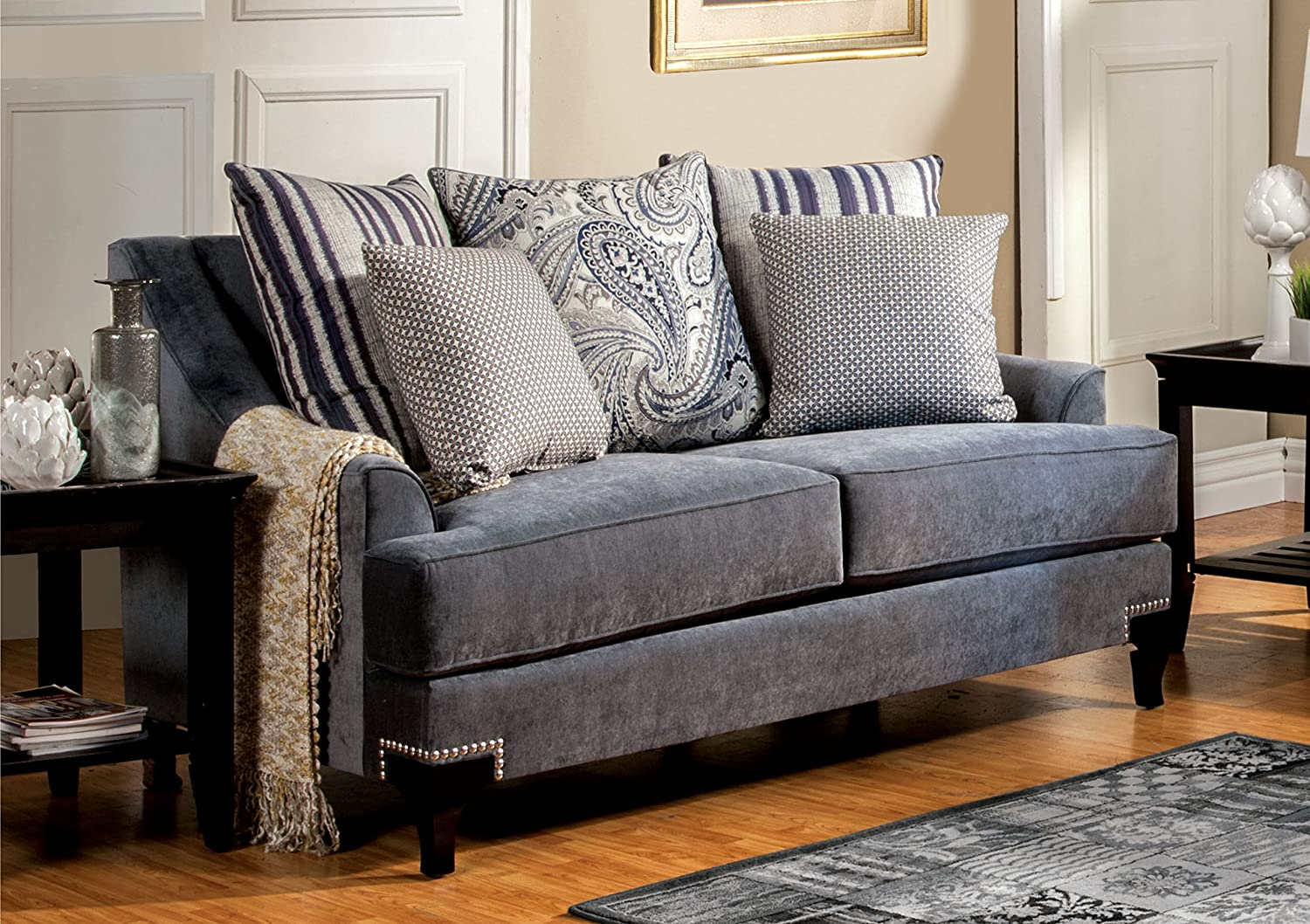 Furniture of America Paisley Love Seat - Slate Blue