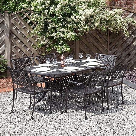 Alfresia Bermuda Oval Cast Aluminium Garden Dining Set - Bronze
