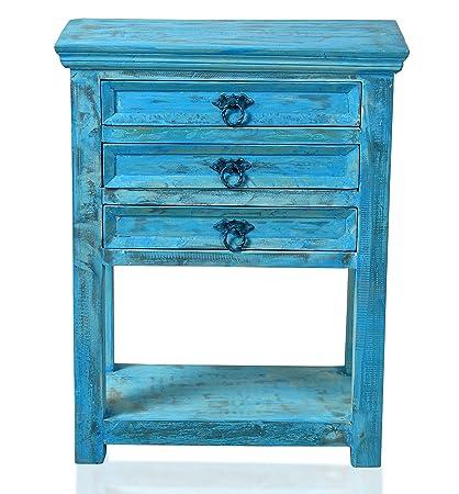 """Sit-Möbel 1256-13 mesa auxiliar """"Blue"""", auténtica madera, piel, 3 interiores de los cajones: 40 x 24 x 7 cm, 1 estante inferior, grosor de las tablas de 2 cm, carga máxima 60 kg, 60 x 32 x 79 cm"""