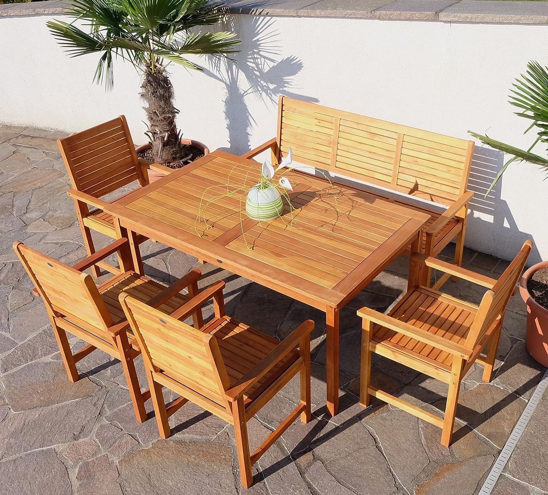 Edle Gartengarnitur Gartenset Gartenmöbel Garnitur Sitzgruppe SARIA-EU mit 4 Sessel, 1 Bank und einem Tisch Holz Eukalyptus wie Teak von AS-S