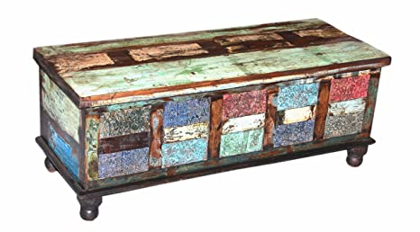 Gurman LA LA-1238 Antique Block Print Coffee Table Trunk Box, 46 by 18 by 18-Inch