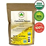 Calendula Tea 1LB (16Oz) 100% CERTIFIED Organic Whole Flower Calendula Herbal Tea (Calendula Officinalis), Caffeine Free in 1 lbs. Bulk Resealable Kraft BPA free Bags from U.S. Wellness