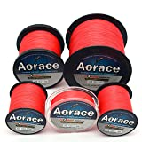Aorace Braided Line Red Color Braided Fishing Line 4 Strands 1000M Braid Fishing Line 35Lb Super Strong Braid Line PE Line (Color: Red, Tamaño: (1000M 1094yds) 35LB/0.30MM/15.8KG)