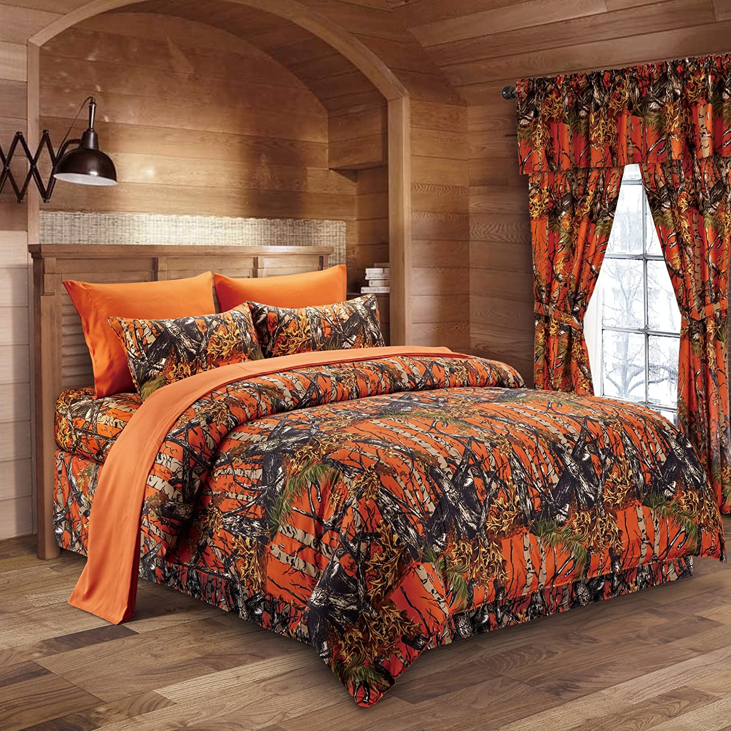 Brown and orange bedding - Orange Camouflage Queen 8pc Premium Luxury Comforter